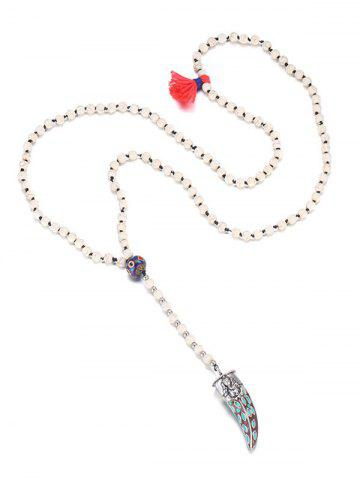 Store Bohemia Beaded Ox Horn Sweater Chain - WHITE  Mobile