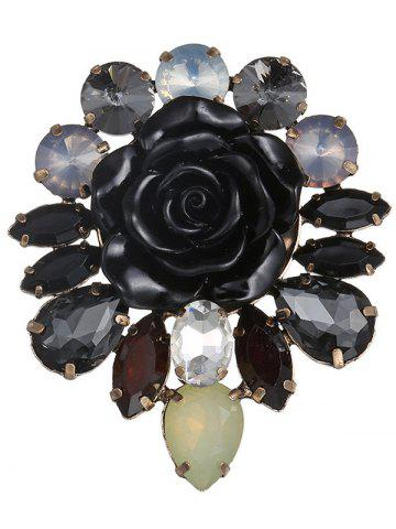 Sale Waterdrop Faux Crystal Floral Enamel Brooch - BLACK  Mobile