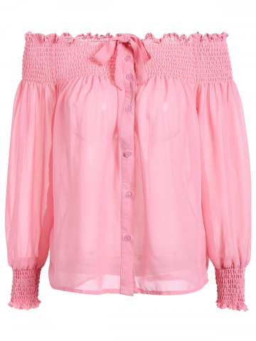 New Puffed Sleeve Off The Shoulder Top PINK XL
