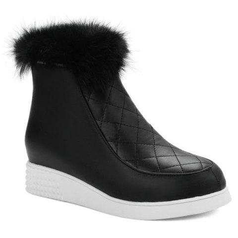 Store Side Back Fuzzy Ankle Boots
