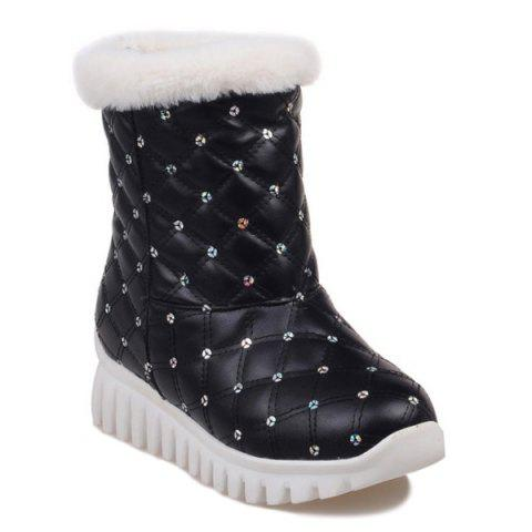 Hot Sequined Faux Fur Snow Boots BLACK 39