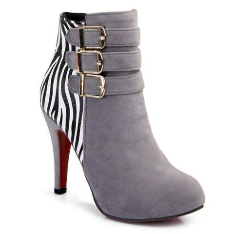 Hot Zebra-Stripe Buckle Suede Ankle Boots LIGHT GRAY 39