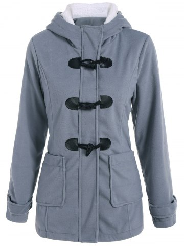 Woolen Hooded Duffle Coat - Gray - Xl