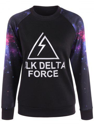 Latest Letter Galaxy Print Pullover Sweatshirt