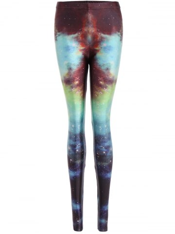 Store Skinny Print Galaxy Leggings BLUE ONE SIZE