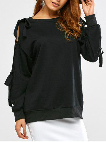 Cheap Bowknot Cold Shoulder Slash Neck Sweatshirt
