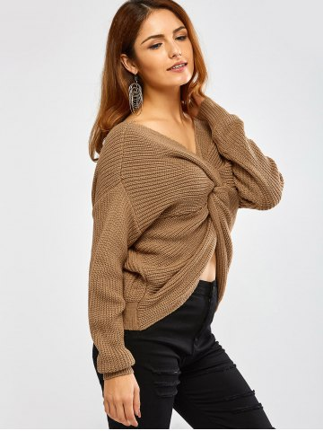 Trendy Twist Front Navel Baring V Neck Sweater
