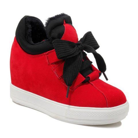 Buy High Top Hidden Wedge Suede Sneakers RED 37