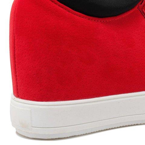 Chic High Top Hidden Wedge Suede Sneakers - 37 RED Mobile