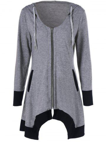 Store Zip Up Asymmetrical Hooded Tee BLACK AND GREY XL