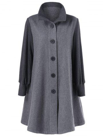 Affordable Button Up A-Line Woolen Coat GRAY M