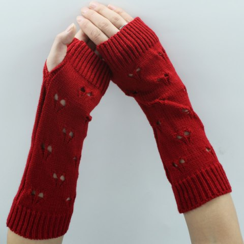 Hollow Out Heart Knitted Arm Warmers - RED