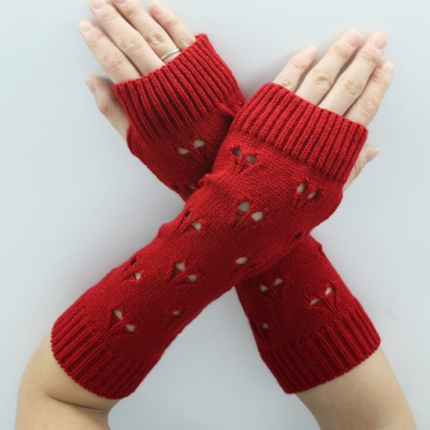 Chic Hollow Out Heart Knitted Arm Warmers - RED  Mobile