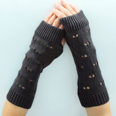 Chic Hollow Out Heart Knitted Arm Warmers