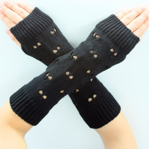 Latest Hollow Out Heart Knitted Arm Warmers - BLACK  Mobile