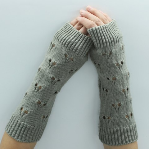 Latest Hollow Out Heart Knitted Arm Warmers - LIGHT GRAY  Mobile
