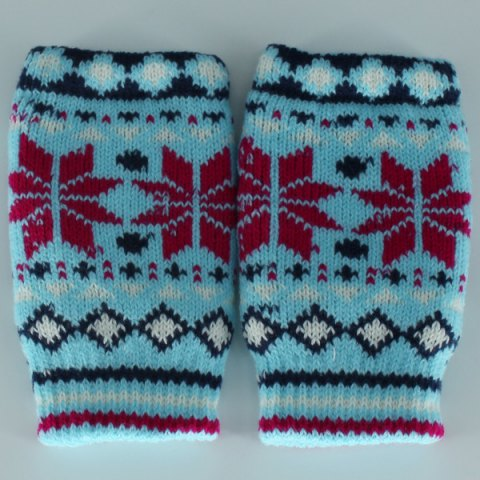 Outfit Christmas Snow Knitted Fingerless Gloves - CLOUDY  Mobile