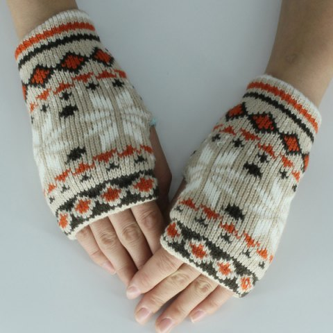 Christmas Snow Knitted Fingerless Gloves - Gray