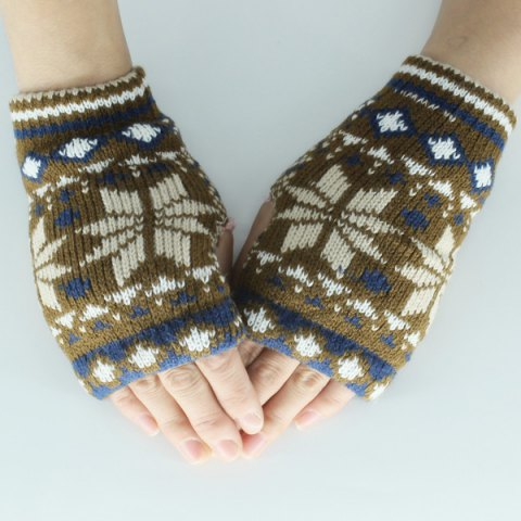 Hot Christmas Snow Knitted Fingerless Gloves KHAKI