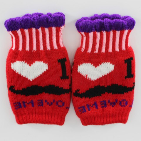 Outfit Beard Love Knitted Fingerless Gloves - RED  Mobile
