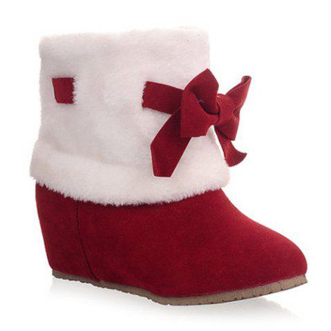 Online Hidden Wedge Bowknot Short Boots RED 39