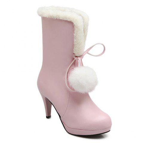 Cheap Pompon Cone Heel PU Leather Mid Calf Boots PINK 39