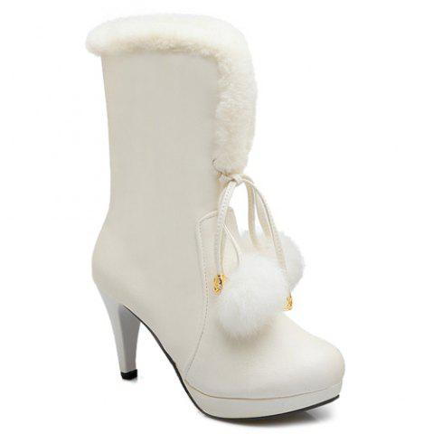 Buy Pompon Cone Heel PU Leather Mid Calf Boots - White 39