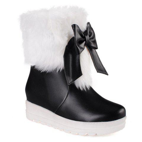 Online PU Leather Bowknot Fuzzy Platform Boots