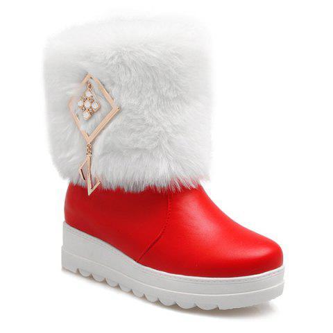 PU Leather Metal Fuzzy Platform Boots - Red - 38