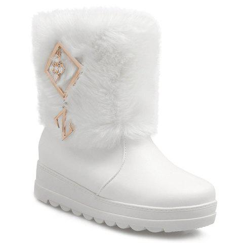 Hot PU Leather Metal Fuzzy Platform Boots WHITE 38