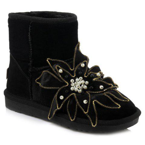 New Beading Flower Ankle Snow Boots BLACK 39