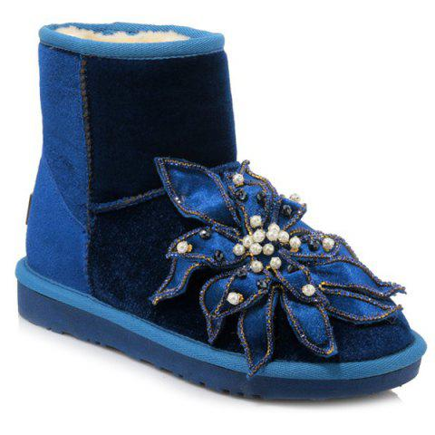 Beading Flower Ankle Snow Boots - Blue - 39