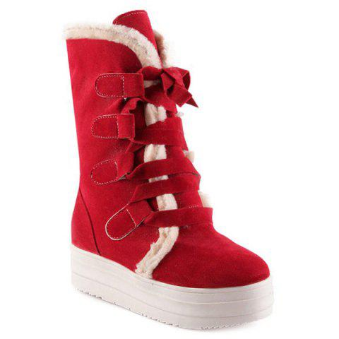 Cheap Fold Down Lace Up Platform Mid Calf Boots RED 39