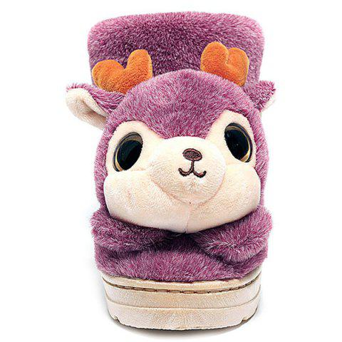 Unique Fuzzy Cartoon Deer House Novelty Slippers - SIZE(40-41) PINK Mobile