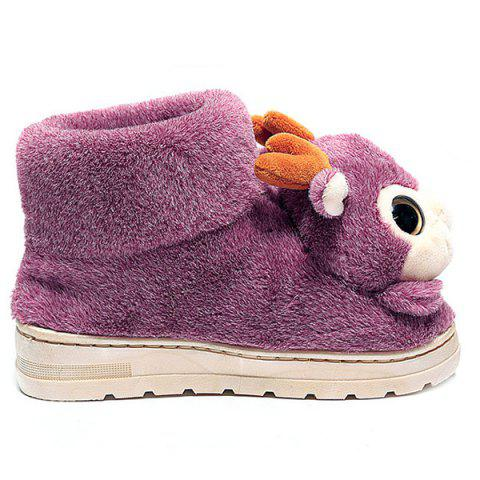 Cheap Fuzzy Cartoon Deer House Novelty Slippers - SIZE(40-41) PINK Mobile
