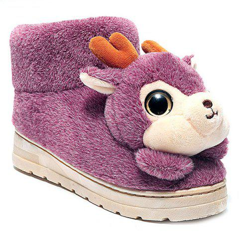 Best Fuzzy Cartoon Deer House Novelty Slippers - SIZE(40-41) PINK Mobile