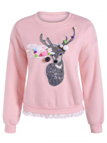 Chic Deer Applique Lacework Insert Flocking Sweatshirt