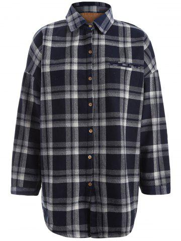 Fashion Plus Size Checked Borg Long Sleeve Flannel Lined Shirt