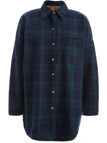 Store Plus Size Checked Borg Long Sleeve Flannel Lined Shirt GREEN XL