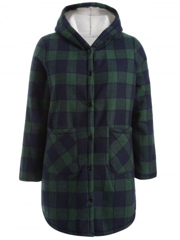 Best Hooded Checked Borg Lined Coat BLUE/GREEN 3XL