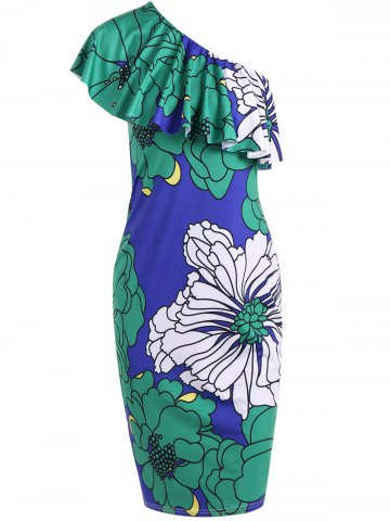 Cheap One Shoulder Large Floral Print Bodycon Dress COLORMIX S