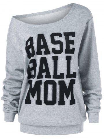 Fashion Base Ball Mom Skew Collar Sweatshirt