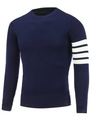 Discount Crew Neck Striped Sleeve Pullover Knitwear CADETBLUE 2XL