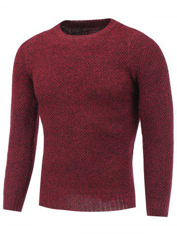 Shop Crew Neck Heather Tweed Pullover Sweater WINE RED 2XL