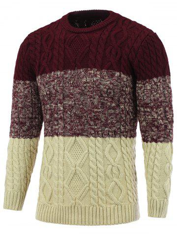 Sale Crew Neck Color Block Cable Knitted Sweater DEEP RED 2XL