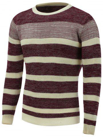 Online Crew Neck Color Block Striped Sweater
