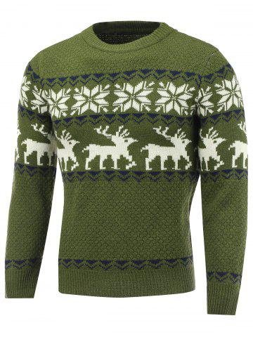 Discount Snowflake Deer Pattern Crew Neck Christmas Sweater GREEN 2XL