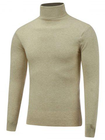 Shop Stretchy Roll Neck Pullover Knitwear BEIGE 2XL
