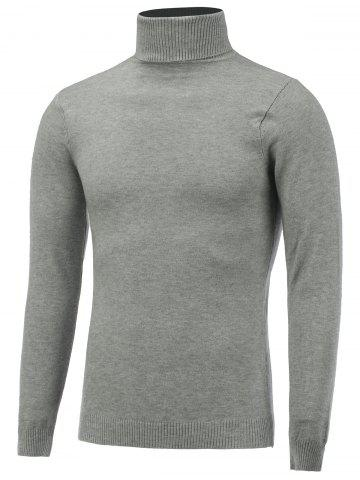 Stretchy Roll Neck Pullover Knitwear - Light Gray - Xl