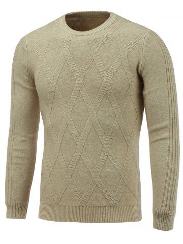 Affordable Crew Neck Rhombus Pattern Pullover Knitwear